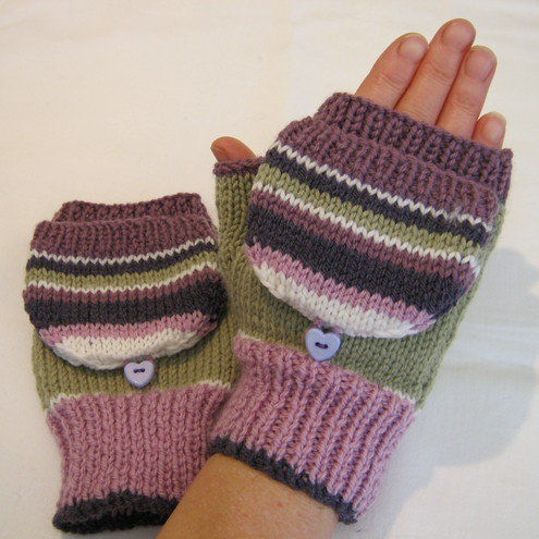 Fingerless mittens with flap - Folksy