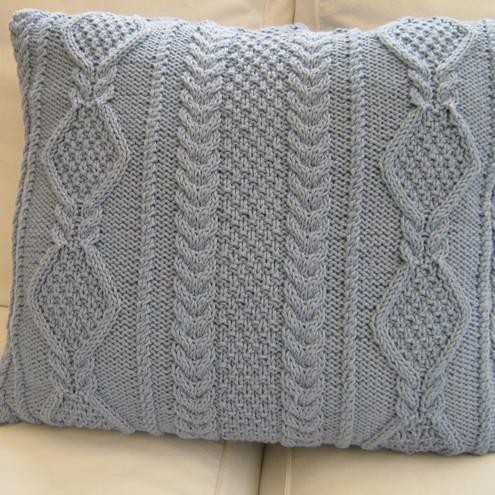 Luxury hand knitted cable pattern cushion - Folksy