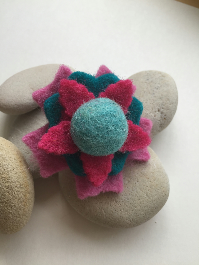 Wool Felt Flower Brooch