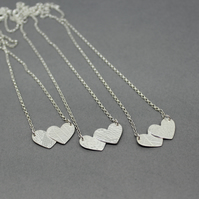 "Sterling Silver Double Textured Hearts Neclace 16"" and 18"""