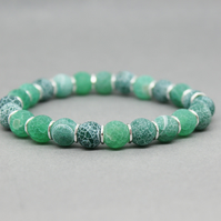 Emerald Green Frosted Green Cracked Agate Silver Spacer Bracelet