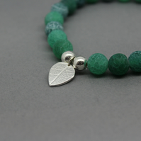 Sterling Silver Leaf Charm Emerald Green Frosted Cracked Agate Bead Bracelet