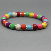 Chunky Bright Multicoloured Magnesite Silver Spacer Bracelet