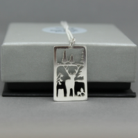 Sterling Silver Stag And Bluebell Pendant