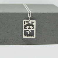 Handmade Sterling Silver Rectangle Birds on a Branch Pendant