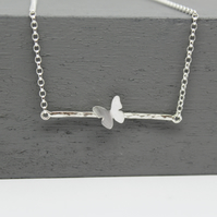 Handmade Sterling Silver Butterfly Bar Necklace One Off Design No 1