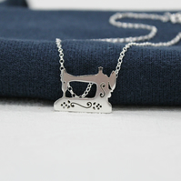 Handmade Silver Sewing Machine Necklace 18 inch Chain