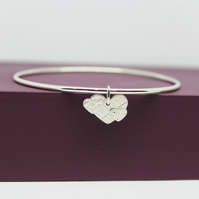 Silver Heart Charm Bangle Large One Off Design 1