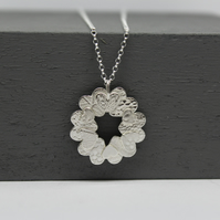 Silver Textured Hearts Circle Pendant