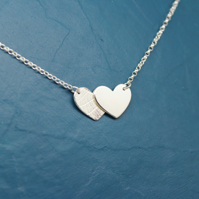 Handmade Silver Overlapping Hearts Necklace