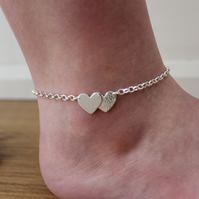 Handmade Silver Overlapping Hearts Anklet