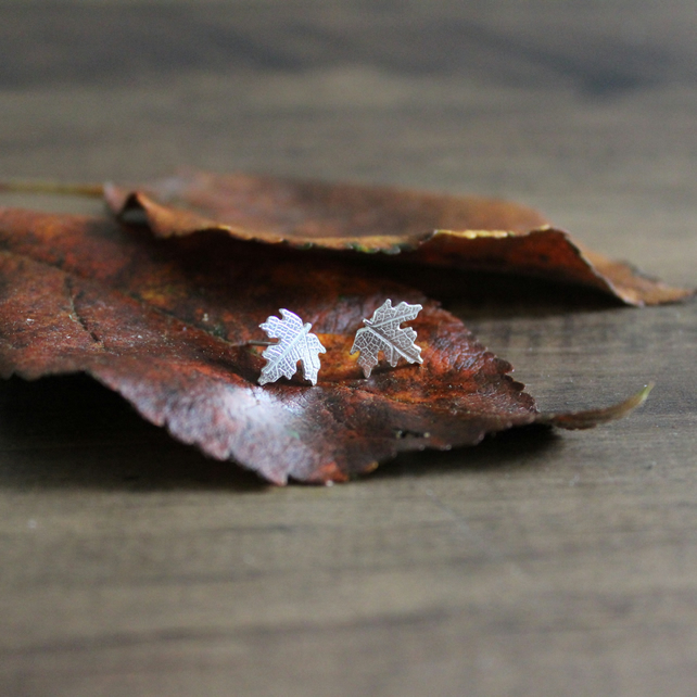 Sterling Silver Maple Leaf Stud Earrings Handmade Nature