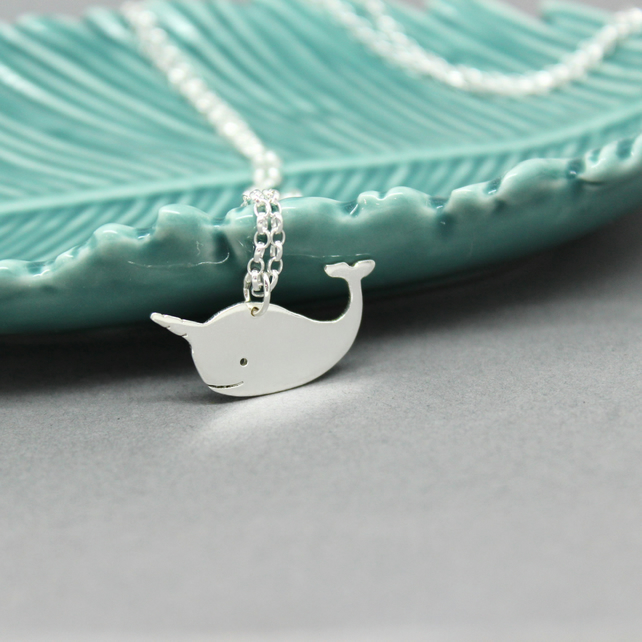 Sterling Silver Narwhal Pendant Handmade Free P&P