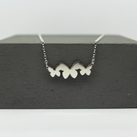 Sterling Silver Butterfly Trio Necklace Handmade Jewellery Free P&P