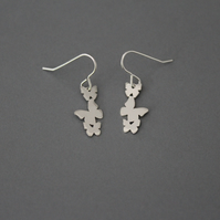 Sterling Silver Butterfly Trio Drop Dangly Earrings Handmade Jewellery Free P&P