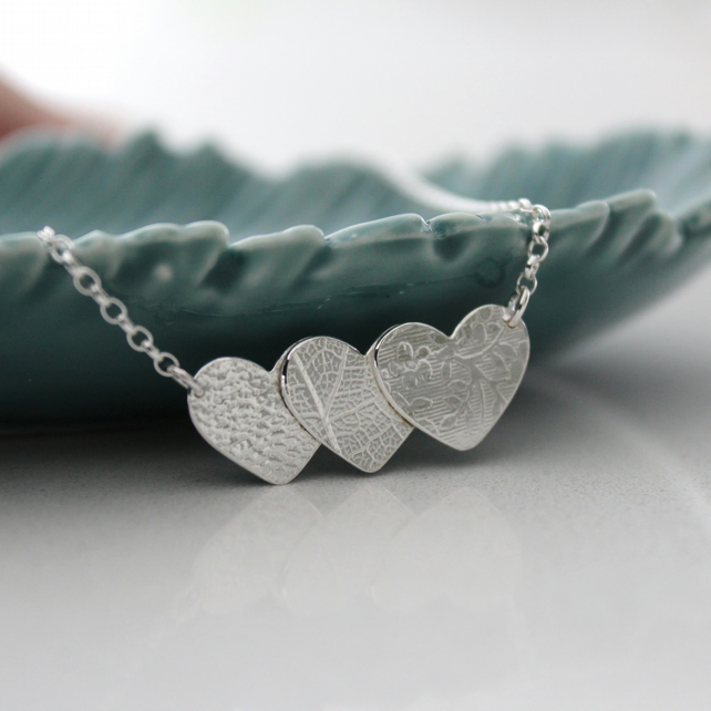 "Sterling Silver Textured Hearts Necklace 16""or18"""