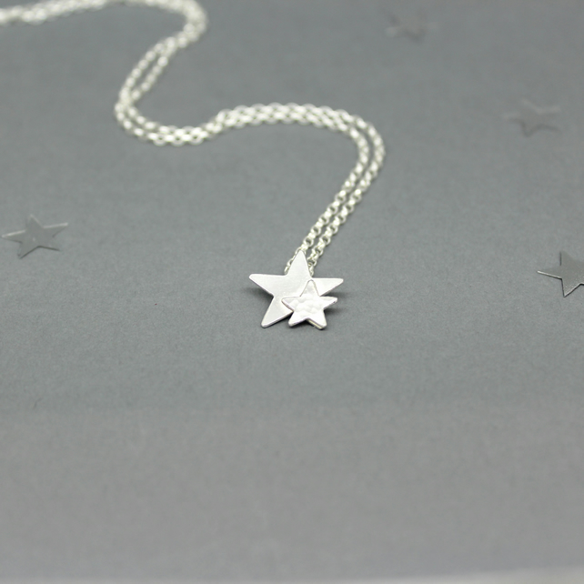 Sterling Silver Double Star Pendant Handmade Jewellery Free P&P