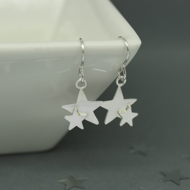 Sterling Silver Double Star Drop Dangle Earrings Handmade Jewellery Free P&P