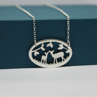 Sterling Silver Deer Cut Out Necklace Handmade Jewellery Free P&P
