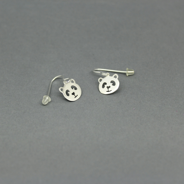 Sterling Silver Panda Drop Dangly Earrings Handmade Jewellery Free P&P