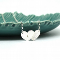 Sterling Silver Personalised Double Hearts Necklace Handmade Free P&P