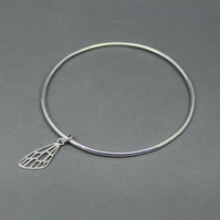 Sterling Silver Wing Charm Bangle Size Large