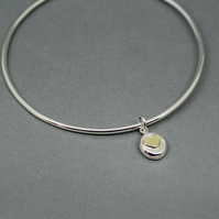 Sterling Silver Heart Pebble Charm Bangle Size Large