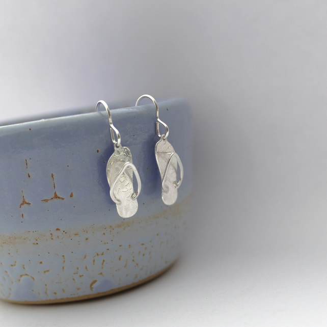 Sterling Silver Flip Flop Drop Earrings