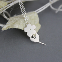 New Intro Offer Handmade Sterling Silver Flower Stem Pendant