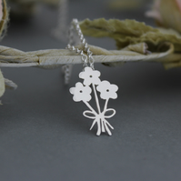 New Intro Offer Handmade Sterling Silver Flower Boquet Pendant