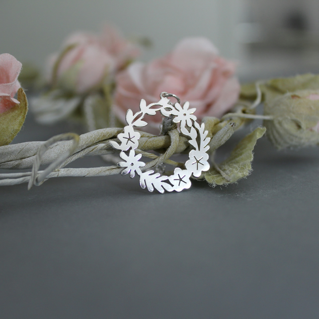 Sterling Silver Floral Ring Pendant handmade jewellery  free P&P