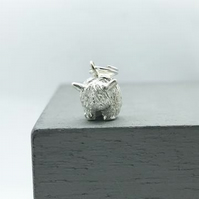 Silver Highland Cow Charm - Handmade Free P&P