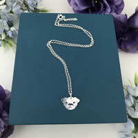 Sterling Silver Pug Pendant Handmade Free UK P&P