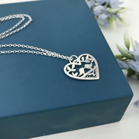 Sterling silver birds on a branch heart pendant handmade free UK P&P