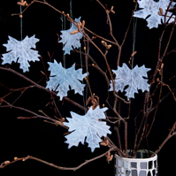 Frosted Leaf Decorations, Frosty Maple Leaves, Frosted Hanging Decorations