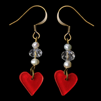Dangly heart valentines earrings