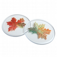 Autumn Leaf Coaster, Autumnal, Maple Leaf, Drinks Coaster, Drinks Mat, Set of 2