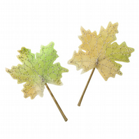 Spring Leaf Hair Slide, Green Maple Leaves, Boho Wedding, Woodland Hair, SALE