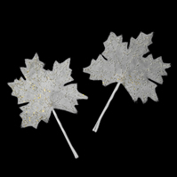Maple Leaf Leaves Tree Gold Ivory Glitter Hair Slide Wedding Winter Christmas