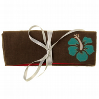 Hibiscus Flower Jewellery Wrap Purse