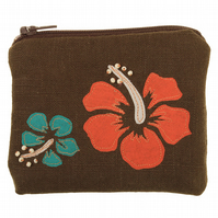 Floral Embroidered Purse, Hibiscus, Coin Purse, Tropical, Gift For Her