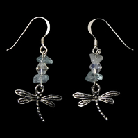 Silver Dragonfly Earrings, Aquamarine Earrings, Sterling Silver, Dragonflies