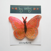 Coral Butterfly Brooch