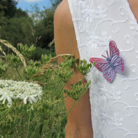 Raspberry Pink Purple Butterfly Brooch