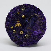 Bee Felt Brooch, Bumble Bee, Hat Pin, Purple and Gold Brooch, Insect Brooch
