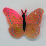 Coral Butterfly Brooch, Embroidered Butterfly, Butterfly Wedding, Gifts Under 10