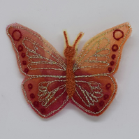 Red Butterfly Brooch, Embroidered Butterfly Quirky Jewellery, Boho Wedding