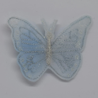 Embroidered Butterfly Brooch, White Butterfly, Frosty Winter Wedding