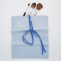 Snowflake Makeup Purse, Jewellery Wrap, Gifts 10 and Under, Blue Bag, SALE