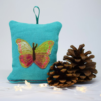 Tropical Turquoise Butterfly Lavender Sachet, Lavender Pillow, Butterfly Gift